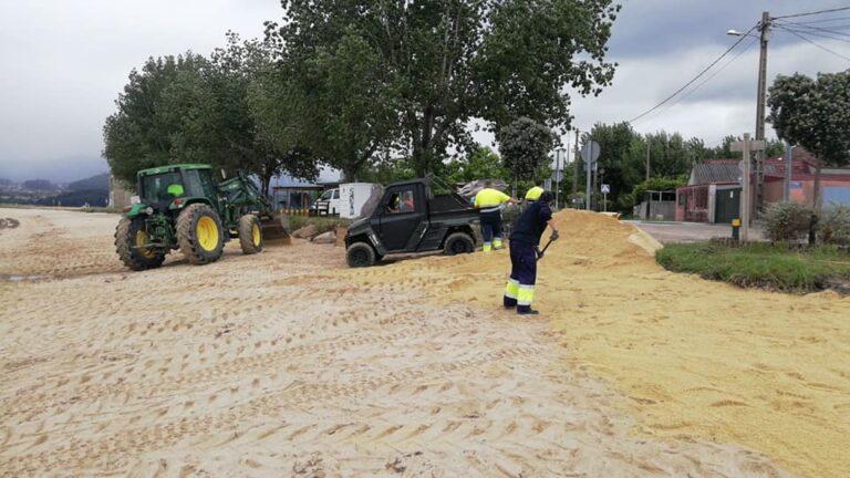 retirada de algas en Cesantes